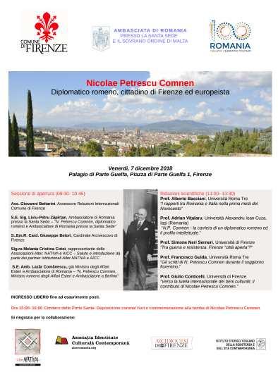 comemorarea unui diplomat roman la florenta - centenar