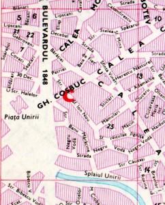 Harta străzilor adiacente Pieței Unirii